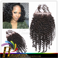 Wholesale Factory Cheap Brazilian kinky curly lace closures x4 Top closures hair Piece best quality lace closure