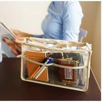 La moda bolsas de plástico transparentes Baratos-Al por mayor-2015 jalea de la manera bolsas de plástico Organizador transparente bolsas de cosméticos de maquillaje bolsas de almacenamiento bolsas de viaje Casual