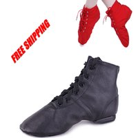 Wholesale Brand New Unisex Split Sole Genuine Leather Jazz dance shoes Black High Quality