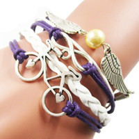 bicycle angels - Lucky Vintage Bicycle Angel Wing Infinity Charm Leather Rope Bracelets for Girls Fashion White Purple Leather Bracelet Jewelry