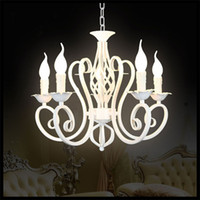 antique semi mounts - Luxury Rustic Iron Crystal Chandelier Vintage Antique White Chain Pendant Lamp Home Price E14 LED Light lustre pendant lights modern