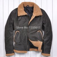 army vietnam - Fall Vietnam War US jersey Army color Men s leather jackets Lambs wool Lapel Quilted Scrub Cowhide Men s fur jacket