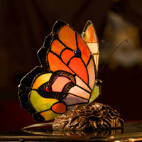 lamps stained glass - Tiffany table Lamp Europe Retro Tiffany Style Lamp Stained Glass Butterfly Table Lamp Desk Decorative Light Bed Room Bedside Lamp Study Lamp
