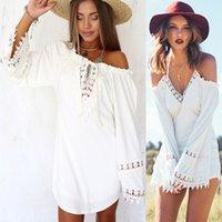 western wear - 2015 New Fashion Women Boho Strapless Braces Lace Frilled Casual Dress Western Loose Beach Sundress Backless Multi Wear Hollow Out Dress