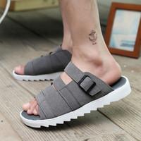 Zapatillas de cuero genuino Hombre Verano estilo coreano zapatos de playa para hombre de cuero suave cómodo Resbalón Resbalón-On pantalones perezoso hombres H153