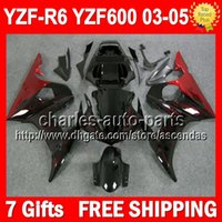 body kit - 7gifts Body For YAMAHA YZFR6 YZF R6 YZF Red flames Q939 YZF600 YZF YZF R6 Fairing Kit red flame black