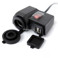 Wholesale HX Dual USB Car Cigarette Lighter Charger Power Adapter V V A for Car Motorcycle Black Free DHL