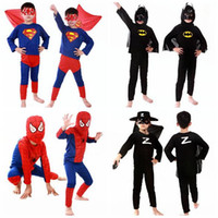 batman movie costume - Children Batman Spiderman Superman Costumes For Kids Zentai Superhero Suits Cosplay Clothes suits long sleeve in stock HHA28