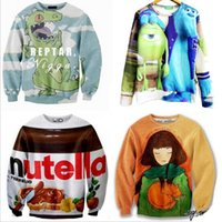 beef foods - Harejuku Nutella beef crocodile girl cat Food Funny D Print cartoon Sweatshirt Plus Size Galaxy Hoodies feminino moletom