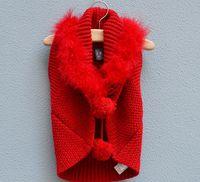 Wholesale Girls Woolly Waistcoat Fashion Kids Black Cardigan Children Sweaters Knit Poncho Child Sweater Vest