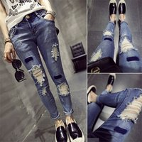 Wholesale Ripped Jeans Promotion Mid Boyfriend Jeans For Women New Korean Women Wash Old Hole Denim Pencil Pants Feet