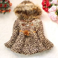 kids winter jackets - Hot Selling Baby Girls Leopard Printing Winter Hoodies Coats Faux Fox Fur Collar Children Kids Outerwear Clothing Hooded Jackets SV008292
