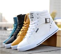 Lace-Up hip hop shoes - 2014 New Hot fashion high top Men Shoes Rivet cowhide casual shoes Sneakers Hip hop shoe Colours