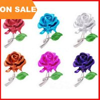 decoration jewelry colors - 6 colors Rose pectoral alloy Retro flower rose Brooch pin Plating Wedding Banquet Brooches Clothing decoration Christmas gift Jewelry