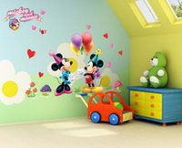 mickey mouse baby room decor achat en gros de-Mickey Minnie Stickers Muraux Décor pour Chambre nurseries Salon Belle souris Cartoon Wall Art Peintures murales Mickey et Amis Mur Decal
