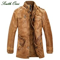 Wholesale Fall leather jackets Men coats Winter warm motorcycle Leather jacket Men s fashion luxury leather mens Fur coat distressed PU jacket