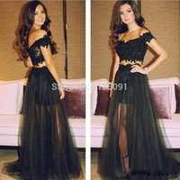 Wholesale Sexy Two Pieces Prom Dresses Off Shoulder Black Formal Dresses Beaded Appliques Sexy Pageant Dresses Tulle Long Party Dresses Vestidos