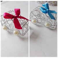Wholesale Top Sale Iron Wire Candy Boxes White Favor Holders Baby Shower Wedding Suppliers Chocolate Package Metal Sweeties Box Car Styl Flower