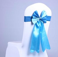 Wholesale Colorful Cheap Wedding Supplies Events Party Wedding Party Banquet Satin Ribbon Sash Handmade Bow For Chair Covers