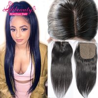 Cheap 7A Cheap Silk Base Closure Straight Brazilian Closure Silk Top Base Closure With Baby Hair Free Middle 3 Side Part