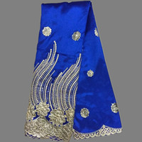 lace material - Fashion flower sequins design party dress lace royal blue embroidery george wrappers material African george lace fabric OG17