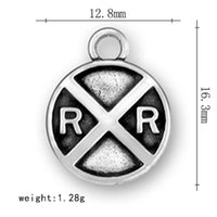 antique railroad signs - 50pcs a hot selling antique silver plated railroad crossing sign pendant round dangle letter double R charms