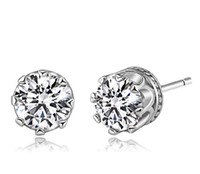 Wholesale Brand NEW Austrian Crystal sterling Silver plating White Crown Wedding Stud Earring Swarovski Elements Engagement Jewelry jy046