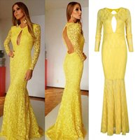floor length maxi dress - Sexy Women Lace Evening Dress Keyhole Front Backless Maxi Dress Crew Neck Long Sleeve Floor Length Vestido de Renda Yellow G0869
