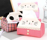 Wholesale 2016 new Car Accessories Tissue Box Cute panda fabric rectangle Tissue cat tissue boxes
