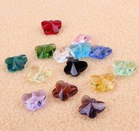 Wholesale butterfly Crystal pendant DIY beads for jewelry mm with hole in middle mixed colors sold per bag of