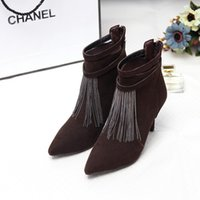 Cheap Fashion new 2015 winter Tassel shoes sheepskin suede Women's Ankle boots Tassel high-heeled pointed Toes boot high quality free shippin