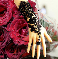 Wholesale sexy lace Bridal Accessories Weddings Bridal Gloves elegant Bridal bracelet with ring wristband Finger Bracelet wedding party