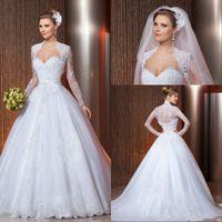 Cheap Elegant Anna Ball Gown Sweetheart Wedding Dress Long Sleeve Jacket Appliques Lace Most Popular New Arrival vestidos de novia