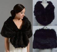 Faux fur jackets Цены-Черная пятница 2015 Черная искусственного меха Люкс для свадебного платья Обертывания шаль Boleros пожимает Дешевые зимних женщин половина рукава куртки Люкс 17002