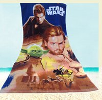 Wholesale two color Cartoon Star Wars Towel Gift toallas Beach Towel Large Kids Cotton Bath Towel x140cm for Children Bathroom Towels