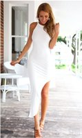 club - White Summer Dresses Fashion Women Sexy Celebrity Party High Split Dress Sleeveless Beach Club Silm Dresses