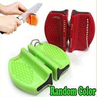 Wholesale Mini Home Kitchen Blade Ceramic Carbide Step Knife Sharpener Camp Sharpening Tool Random Color pc