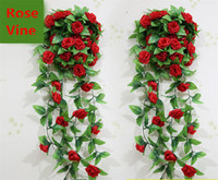 Wholesale Wedding Decoration New Artificial Silk Rose Flower Vine Hanging Garland Wedding Home Wall Party Decor
