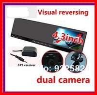 "Cheap car dvr 4.3""car rear view mirror DVR GPS dual camera front back while recording+ 3axis G-sensor+Touch button+GPS TRACK+H.264 Recorder"