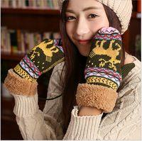 Wholesale Cute Hot Ladies Girls Gloves Winter Ski Fashion Thickening Warm Pink Blue Black Knitted Golves