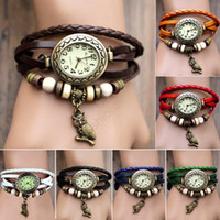 Wholesale Watches For Women Watches Wristwatches Watch Leather Wrist Watch Charm Bracelet Retro Vine Owl Pendant Weave Wrap Quartz Colors