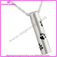 pet urns - IJD2473 Fashion Design Memorial Pet Urn Necklace quot Paws quot Cylinder Stainless Steel Cremation Ashes Pendant Jewelry