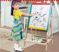 board eraser with marker - 65cm Child double side Wooden Magnetic Blackboard Whiteboard Kids big Writing and Drawing Board toys with Eraser Chalk Marker