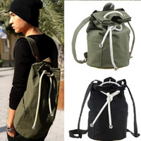 army bucket - New Black Sports Canvas Drawstring Bucket Bag Outdoor Sports Backpack Casual Star Pocket Bag Canvas Backpack Shoulder Sports Bucket Packs