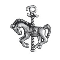 antique hobby horse - 50pcs a Zinc Alloy Antique Plated Carousel Horse Animals Charms For Bracelets Or Necklaces