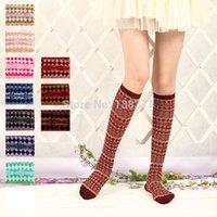 bamboo socks women knee high - Cotton Women s Girl s Autumn Winter Bamboo pattern Knee High Socks Colors