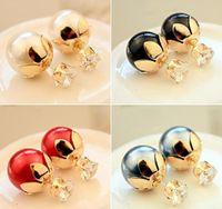 Wholesale Wedding Earing Lotus Flower Red Black White Gray Pearls Big Girls Ear Stud Brief Fashion Grace N1241
