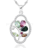 Wholesale Tourmaline pendant Natural real tourmaline pendant Necklace sterling silver Perfect jewerly Fine jewelry DH