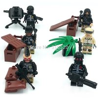 battle gun toys - LELE Military Serie Camouflage Barrier Gun Battle Minifigure Building Block Sets Bricks Toys Compatible With Decool