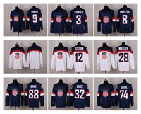 Cheap 2014 Winter Olympic Team USA Hockey Jersey Navy Blue Jerseys White Ice Hockey Uniforms #88 Kane Oshie Kessel Players Jerseys Hot Sale